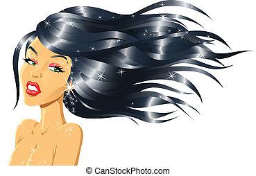 capelli, ragazza, moda, baluginante