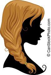 capelli, treccia, silhouette