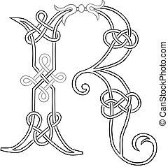 capitale, celtico, lettera, knot-work, r
