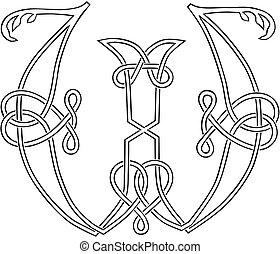 capitale, celtico, lettera, knot-work, w