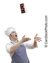 capo, cuoco, isolato, lanciare in aria, bianco, regalo