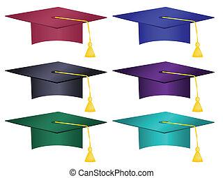 cappelli, multiplo, colorato, graduazione