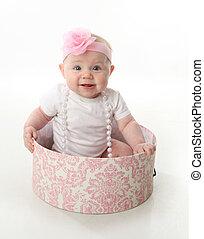 cappelliera, bambino, carino, seduta