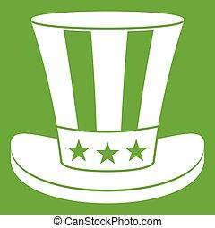 cappello, americano, verde, icona