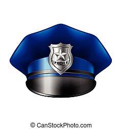 cappello, bianco, vettore, polizia, isolato