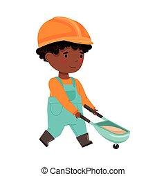 cappello, carriola, duro, illustrazione, tirare, costruttore, americano, divertente, generale, africano, sabbia, vettore, ragazzo