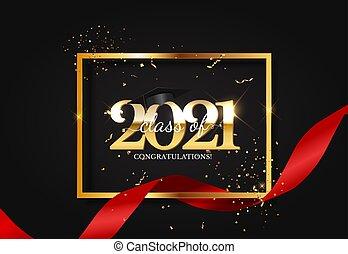cappello, confetti., illustrazione, berretto laurea, vettore, 2021, classe