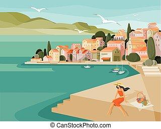 cappello, contro, case, caldo, mare, arginamento, gabbiani, fatto, fondo, yacht, giorno, picnic, tetti, estate, rosso, donna, mosca