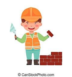 cappello, duro, illustrazione, lavoro, costruttore, il portare, muratore, poco, vettore, ragazzo