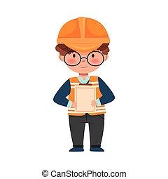 cappello, duro, illustrazione, lista, costruttore, presa a terra, il portare, poco, vettore, ragazzo