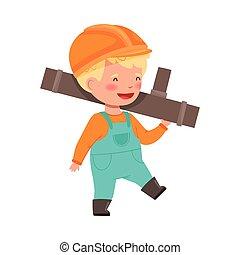 cappello, duro, metallo, illustrazione, costruttore, portante, il portare, poco, vettore, tubo, ragazzo