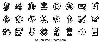 cappello, icons., chef, approvato, digiuno, taglio, consegna, cliente, esame, forbici, vettore, ribbon., domanda