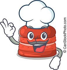 cappello, il portare, cartone animato, carattere, ciliegia, bianco, macaron, carino, chef