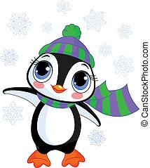 cappello, inverno, pinguino, s, carino