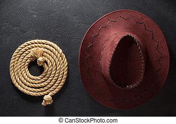 cappello, laccio, sfondo nero, cowboy