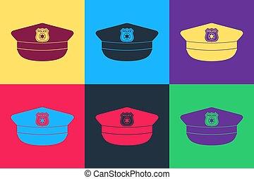 cappello, pop, berretto, polizia, arte, vettore, colorare, icona, isolato, coccarda, segno., fondo.