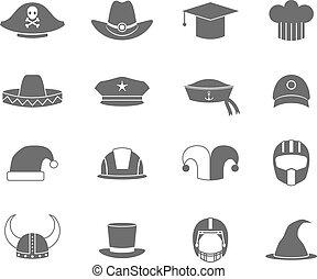 cappello, set, nero, icone