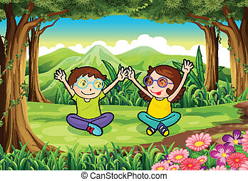 capretti playful, due, foresta