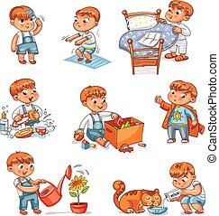 capretto, cartone animato, quotidiano, set, attività, routine
