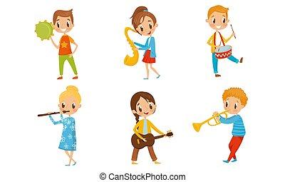 capretto, differente, piano., ragazzo, tamburi, caratteri, musicale, gioco, instruments.