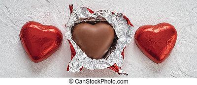 caramella, dolci, cioccolato, giorno, valentine, cuore