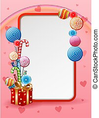 caramella, scheda, dolci, illustrazione
