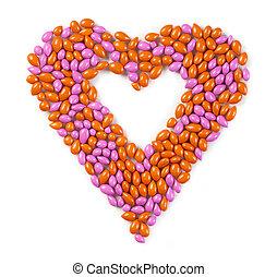 caramelle, dolce, fatto, cuore