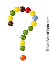 caramelle, fatto, punto interrogativo