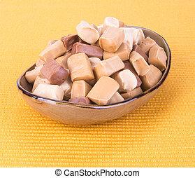 caramelle, fondo., candies., caramello, fondo