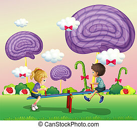 caramelle, gigante, bambini, parco, gioco