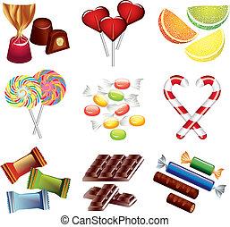 caramelle, vettore, set, colorito