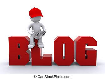 carattere, 3d, segno, laptop, blog