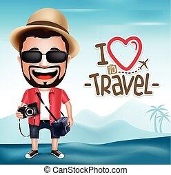 carattere, 3d, uomo, realistico, turista