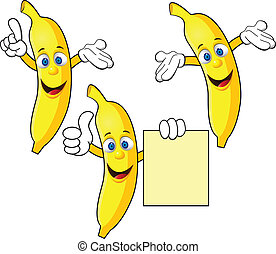 carattere, banana, cartone animato