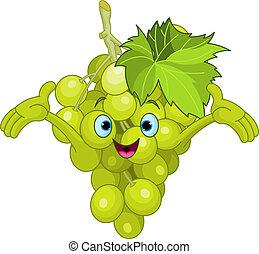 carattere, cartone animato, allegro, uva