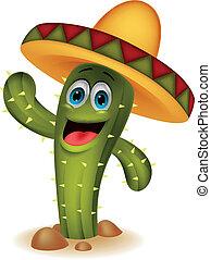 carattere, cartone animato, cactus, carino