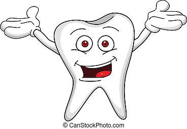 carattere, cartone animato, dente
