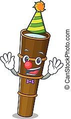 carattere, cartone animato, pagliaccio, divertente, telescopio, carino, stile, rotolo, mascotte