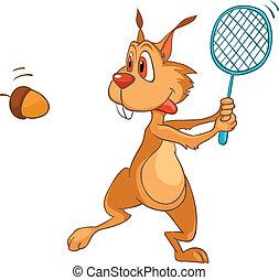 carattere, cartone animato, scoiattolo