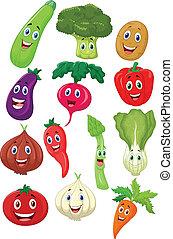 carattere, cartone animato, verdura, carino