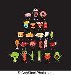 carattere, cibo, disegno