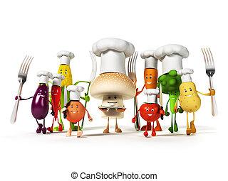 carattere, cibo, verdura, -