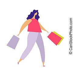 carattere, colorito, bianco, casato, casuale, moda, porta, va, sale., o, vestiti, vettore, donna, concetto, ragazza, negozio, isolato, appartamento, store., illustrazione, moderno, fondo, bags.