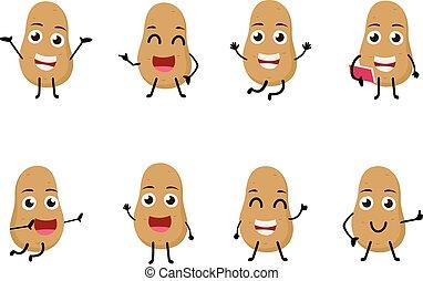 carattere, divertente, cartone animato, patata, set, verdura