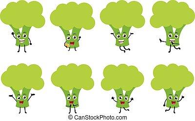 carattere, divertente, cartone animato, set, verdura, brocoli