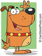 carattere, felice, cane, cartone animato