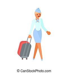 carattere, hostess, valigia