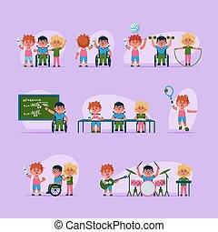 carattere, invalido, bambini, vita, scene, set, illustrazione, vettore