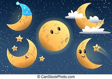 carattere, luna, carino, collezione