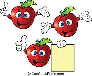 carattere, mela, cartone animato